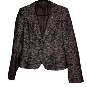 Ann Taylor Black Tweed One-Button Blazer Size 10